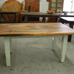 Farm Table with painted tapered legs - Farm Table top finished in light walnut with light green painted tapered legs