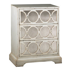 None - Distressed Cream Antiqued Mirror Accent Chest - Inject stylish functionality into your home with this decorative mirrored accent chest. With an antiqued cream finish and three roomy drawers,this attractive piece updates the look of your room while providing you with much-needed storage.