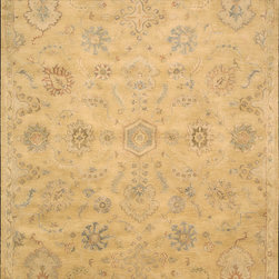 Nourison - Nourison Jaipur JA54 (Light Gold) 6' Round Rug - The Nourison Jaipur collection features a distinctive assortment of traditional designs, handmade from the finest 100% premium quality wool. Nourison's own unique herbal-wash process creates the elegant look of a priceless antique. With their lavish pile and the silk-like sheen of their lanolin-rich wool, Jaipur Collection rugs will bring a dramatic fashion accent to any room setting.