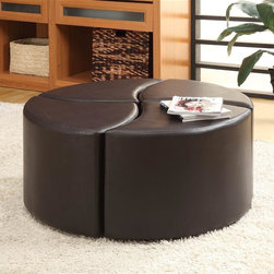 Homelegance - Strand 4 Pc Cocktail Ottoman - Includes four upholstered ottomans. Casters. Creates a single unit when nestled together. Provides seating for four when separated. Unique design provides versatile options. 39 in. Dia. x 19 in. H