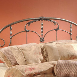 Hillsdale - Jacqueline Metal Headboard - This intricate traditional headboard recalls an era of gilded excess. From the ornate spindles to the embellished scrollwork and castings, this design is uniquely detailed. The Jacqueline headboard is a delight to behold. Features: -Foundry-poured aluminum castings.-Heavy gauge tubing.-Solid bar wire.-2 Holes to screw in to standard headboard frame (hardware not included).-Fully welded construction.-Old pewter finish.-Recommended care: Dust frequently using a clean, specially treated dusting cloth that will attract and hold dust particles. Do not use liquid or abrasive cleaners as they may damage the finish..-Frame Material: Metal.-Solid Wood Construction: No.-Upholstered: No.-Distressed: No.Dimensions: -Full / Queen: 55.25'' H x 61'' W.-King: 55.25'' H x 77'' W.Assembly: -Assembly Required: Yes.