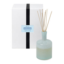 Marine / Bathroom Diffuser - 15 oz. - The light ozone scent that travels through the reeds of the Marine Diffuser is perfect for giving a refreshing note to the bath, but its breezy en plen aire impression and the subtle pearl-grey color of its glass bottle also welcome deep breathing in the bedroom and in the office. An included bouquet of slim wooden sticks keeps your aroma ever-fresh from the luxury reed diffuser.