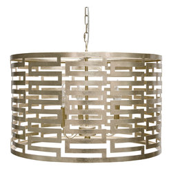 """Worlds Away - Worlds Away Nova Silver Leaf Greek Key Pendant - The modern Worlds Away Nova pendant exudes geometric allure. Shining in glamorous silver leaf, the round light fixture captivates with a compelling Greek key design. 24"""" Dia x 15""""H; Silver leaf; Three light pendant; Accepts three 40W chandelier bulbs (not included); Includes chain and canopy"""