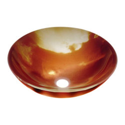 Renovators Supply - Glass Sinks Multi Glass Sunset Glow Glass Vessel Sink Round - Glass Vessel Sinks: Double Layer Tempered glass sinks are five times stronger than glass, 3/4 inch thick, withstand up to 350 F degrees,  can resist moderate to high degrees of impact & are stain��_��__��_��__��_��__proof. Ready to install this package includes FREE 100% solid brass chrome-plated pop-up drain, FREE machined 100% solid brass chrome-plated mounting ring & silicone gasket. Measures 16 1/2 in. dia. x 6 in. deep x 3/4 in. thick.