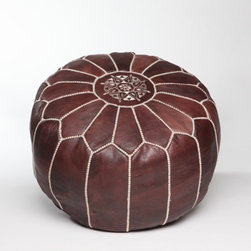 Brown Leather Pouf, Stuffed - This traditional Moroccan pouf is essential for relaxed conversation with friends and family. It would also add an element of fun to children's seating.
