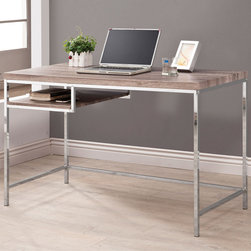 """Coaster - Computer Desk, Wood Look/Chrome - This sleek and contemporary computer desk with a reclaimed wood look and a smooth chrome base is perfect for addition for any home. Featuring a small storage shelf for keeping things handy. Pair this computer desk with any of our matching reclaimed wood accent furniture.; Contemporary Style; Finish/Color: Reclaimed wood look/chrome; Dimensions: 47.25""""L x 23.50""""W x 30""""H"""