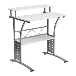 Flash Furniture - Flash Furniture Clifton Computer Desk in White - Flash Furniture - Computer Desks - NANCLIFTONWHGG - The Clifton Workstation gives you an upgrade to the simple writing desk. The large work surface allows you to comfortably use your computer and use writing materials.