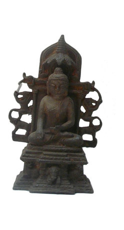 "Golden Lotus - Chinese Rustic Iron Pedestal Sitting Buddha Statue - Dimensions:   8"" x d5""x  h12"""