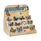 Highland Graphics, Inc. - Flutter By Coaster Display 12 designs 6 of each design - Set of 72 single ceramic functional coasters includes free, re-fillable counter top fixture with decorative header, and features six each of 12 different designs in this assortment. Individual designs can be ordered to restock fixture. Made in USA. Holds