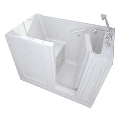 American Standard - American Standard 3051.114.WRW Walk-In Whirlpool,  White - American Standard 3051.114.WRW Walk-In Whirlpool,  White. This walk-in whirlpool tub features an acrylic construction with fiberglass reinforcement, a watertight door system with patented aluminum frame, a built-in chair height seat and color matched grab bar, a textured tub floor, a color-matched waste and overflow, and a free-standing metal support frame. This model features a right-hand drain mount.
