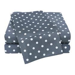 600 Thread Count Queen Sheet Set Cotton Rich Polka Dot - Grey - 600 Queen Sheet Set Cotton Rich Polka Dot - Grey