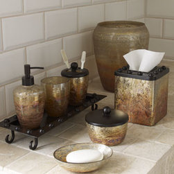 """Horchow - Mission Tumbler - Distinctive vanity accessories crafted of distressed """"artifact"""" glass and rustic iron. Waste bin, 8.25""""Dia. x 10""""T. Tissue box cover, 5""""W x 5.5""""D x 6""""T. Pump dispenser, 3.75""""Dia. x 7.5""""T. Soap dish, 5.75""""W x 4.25""""D x 1.5""""T. Small box with lid, 4.75..."""