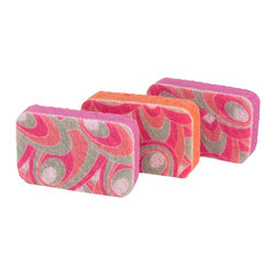 Casabella It's Not Your mothers Sponges Pink Patterns - It's not your mothers sponge  this set of 3 cellulose sponges has a scrubby surface to knock out any stuck on messes.  Cellulose is derived from wood pulp a renewable resource.Product Features                        100% natural cellulose sponges            Scrubby surface is safe for non-stick surfaces            Made in the U.S.A.