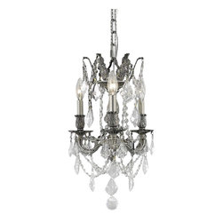 Elegant Lighting - 9203 Rosalia Collection Pewter Finish Royal Cut Crystals Hanging Fixture - Elegant lighting for gracious living, Rosalia chandeliers are a lustrous departure in crystal design.  Beginning with the solid brass sculptured and finely detailed frame, this series may be dressed up or down to fit in many rooms.