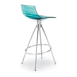 Calligaris - Calligaris L Eau Techno-Polymer Bar Stool - CS/1270-P77-P266 - Shop for Stools from Hayneedle.com! The Calligaris L Eau Techno-Polymer Bar Stool has a new age design. Sits bar stool height. Features water-clear techo-polymer (plastic) seat with ripple pattern molded seat with a wavy design. This non-swivel stool is stationary. A conical pyramid metal frame with a chrome finish and ring footrest. Available in several seat colors. Country of origin: Italy. Stool dimensions: 16.5W x 17.25D x 39H inches. Made for bar height seating at your kitchen or bar. About Calligaris FurnitureThis item is manufactured by the Calligaris company. Begun in 1923 in Italy Calligaris Furniture has steadily grown to become a leader in the furniture industry. Their designs are renowned throughout the world for sleek contemporary form and function. Calligaris items exceed industry standards and the company proudly complies to environmental standards regarding forestry and sustainable resources. The name Calligaris is synonymous with exciting design high quality and forward thinking.