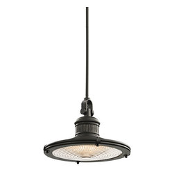 Kichler - Kichler 42438OZ Sayre Single-Bulb Indoor Pendant with Cone-Shaped Metal Shade - Product Features: