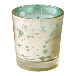 Lazy Susan - Lazy Susan Gilded Sea Votive - Inspired by a vintage glass technique and the twinkle of sun reflecting off Caribbean seas/ this mercury glass is luminous when a votive candle glows beautifully through the iridescent shine.