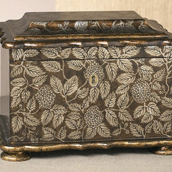 Dessau Home - Decorative Box w Lock - Feet accents. Made from wood. 14 in. L x 9.25 in. W x 10.25 in. H
