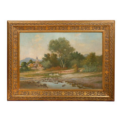 Consigned Country Landscape - Your country house should have a country landscape. Or your city house needs a bit of the countryside. Painted in the late 19th Century, the delicate brush strokes and masterful technique allow you to feel you are actually approaching a small town and passing geese on the banks of the river. Bucolic and serene, this oil painting is beautifully framed in gilt on wood and is ready to hang.