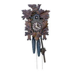 Schneider Cuckoo Clocks - 1-Day Black Forest Cuckoo Clock w Plastic Hands - Curved style. 1-day rack strike movement. Wooden cuckoo, dial with roman numerals. Cuckoo calls and strikes every half and full hour. Made from wood. Antique finish. Made in Germany. 7.1 in. W x 5.9 in. D x 9.1 in. H (2.9 lbs.). Care Instructions