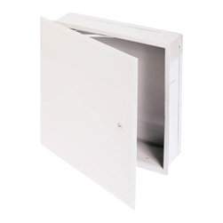 """Best Access Doors - Valve Box with Hidden Flange, High Quality White Powder Coat, 16""""x16"""" - 16"""" x 16""""  Valve Box with Hidden Flange.The BA-BTA valve box is practical and aesthetically pleasing. It comes in various sizes and depths and can be pre-drilled to accept water pipes, gas pipes and conduits. BA-BTA Cabinet / Valve Box.  Material: 16 gauge cold rolled steel Hinge: Concealed, exclusive hinge design Lock / latch: Screwdriver operated cam latch - Standard (picture shown with ring / Key tool Slam Latch - extra) Finish: DuPont high quality white powder coat Packaging: Individually wrapped, 1 per box Depth: 4"""" (standard)"""