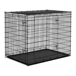 """Midwest Homes For Pets - Solutions Double-Door Large Dog Crate - Features: -Tough, easy to clean ABS plastic pan. -Strong and secure corner drop pin design. -Safe and secure slide bolt latches. -Durable black epoxy powder coat. Specifications: -Dimensions: 54""""L x 37""""W x 45""""H. -For Dogs weighing up to 190 lbs."""