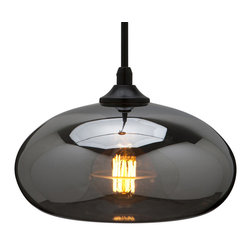 William Smoked Grey Pendant Lamp - This pendant lamp by Nuevo is part of their William collection and comes in a smoked grey finish.