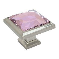 Cosmas - Cosmas 5883SN-P Satin Nickel & Pink Glass Square Cabinet Knob - Manufacturer: Cosmas