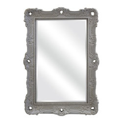 """IMAX - Carrington Wall Mirror - The Carrington Wall Mirror, by designer Ella Elaine, is a classic design featuring an embossed pattern and cutout accents in the frame. Whether you hang this fetching mirror in your entryway, living room or bedroom, you are sure to love it. Item Dimensions: (40""""h x 28""""w x 3"""")"""