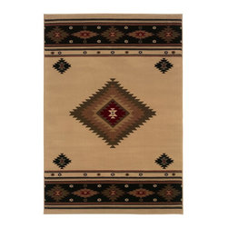 """Oriental Weavers - Southwestern/Lodge Hudson 7'8""""x10'10"""" Rectangle Beige-Green Area Rug - The Hudson area rug Collection offers an affordable assortment of Southwestern/Lodge stylings. Hudson features a blend of natural Red-Green color. Machine Made of Polypropylene the Hudson Collection is an intriguing compliment to any decor."""