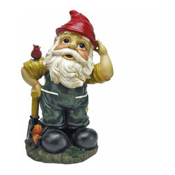 EttansPalace - Digger Garden Gnome Statue - When you could use a little gnome magic at your entryway, vegetable plot or garden flowerbed, Dieter the Digger Garden Gnome Statue is at the ready! Sporting a pointy red elf hat and trusty gnome spade, this garden elf statue greets his bird friend with the same warm welcome hell extend to all visitors to your home or garden. Imaginatively sculpted, our quality designer resin garden gnome statue is hand-painted one piece at a time.