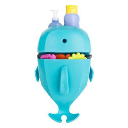 Boon - Whale Pod Bath Storage - An ocean of bath toys fit inside the Whale Pod so they can be easily stored and left to drip-dry. Kids love how it playfully scoops water. Parents love less bath time mess. Features: -Bath storage. -Removable scoop makes bath time clean-up fun and easy. -Stores and organizes bath accessories. -Wall-mounted base with built-in shelf. -Reduces mold and mildew. -Mounting options included: adhesive strips and hardware. -BpA-free, Phthalate-free and PVC-free. -Recommended age: All ages.