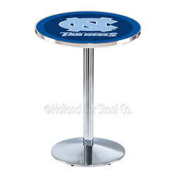 Holland Bar Stool - Holland Bar Stool L214 - Chrome North Carolina Pub Table - L214 - Chrome North Carolina Pub Table belongs to College Collection by Holland Bar Stool Made for the ultimate sports fan, impress your buddies with this knockout from Holland Bar Stool. This L214 North Carolina table with round base provides a commercial quality piece to for your Man Cave. You can't find a higher quality logo table on the market. The plating grade steel used to build the frame ensures it will withstand the abuse of the rowdiest of friends for years to come. The structure is triple chrome plated to ensure a rich, sleek, long lasting finish. If you're finishing your bar or game room, do it right with a table from Holland Bar Stool. Pub Table (1)