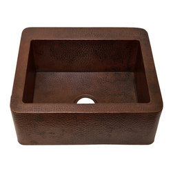 "Artesano Copper Sinks - Straight  Apron Front Kitchen Copper Sink - Undermount - Single Basin - Straight  Apron Front Kitchen Copper Sink - Undermount - Single Basin - 25 x 22 x 9.5"" - Rim 2"" - Inside 21 x 16 x 9"" - Drain 3.5"" - Apron Extends 3.5"" on sides"