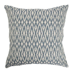 "The Pillow Collection - Hafoca Ikat Pillow Denim - This gorgeous throw pillow features an intricate traditional ikat design. The casual color of denim is infused in this square pillow. The 18"" soft pillow can easily be mixed and matched with other home decors. The beautiful print is complemented with a soft blend of fabrics, including: 42% cotton, 38% polyester and 20% rayon. Bring a fun vibe to your room by adding this decor pillow. Hidden zipper closure for easy cover removal.  Knife edge finish on all four sides.  Reversible pillow with the same fabric on the back side.  Spot cleaning suggested."