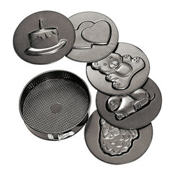 Paderno World Cuisine - 10.25 in. Non-Stick Fluted Springform Pan - This Paderno World Cuisine 10.25 in. non-stick fluted springform pan comes with six interchangeable bottoms with different images. The images are as follows: birthday cake, hearts, teddy bear, rabbit, and santa. These are ideal for any special occassion. It is quite simple to release the clips and change the bottom. This pan is ideal for baking cheesecake and similar dense crumb crust cakes. The springform baking mold offers instantaneous release from its expandable, clip-closed sides and removable bottom.