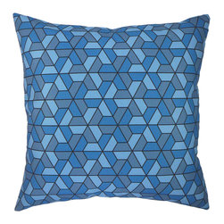 "NECTARmodern - Triangles (blue) modern graphic throw pillow 20"" x 20"" - Geometric triangles and hexagons pattern. Three-tone blue pillow with dark gray lines. Solid white linen back. Designer quality cover with overstuffed feather/down insert."