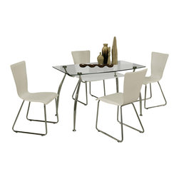 """Pastel Furniture - Pastel Roman 5-Piece Clear Glass Dining Room Set with Maxima Chairs - The Roman Dining table with 30"""" x 51"""" rectangular clear glass top is designed with clean contemporary lines and graceful appeal. The Maxima side chair is a simple but elegant chair providing clean and visual lines with curved back rest. This chair is beautifully upholstered in white with sturdy chrome legs. The beautiful dining set will bring family together."""