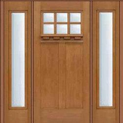 """Prehung Sidelights Door 80 Fiberglass Craftsman 6 Lite SDL Glass - SKU#MFC63DC-SDL6_DFCRD61-2BrandGlassCraftDoor TypeExteriorManufacturer CollectionCraftsman DoorsDoor ModelCraftsman 6 LiteDoor MaterialFiberglassWoodgrainVeneerPrice4850Door Size Options36"""" + 2( 14"""")[5'-4""""]  $036"""" + 2( 12"""")[5'-0""""]  $0Core TypeDoor StyleCraftsmanDoor Lite Style6 LiteDoor Panel Style2 PanelHome Style MatchingCraftsmanDoor ConstructionPrehanging OptionsPrehungPrehung ConfigurationDoor with Two SidelitesDoor Thickness (Inches)1.75Glass Thickness (Inches)Glass TypeDouble GlazedGlass CamingGlass FeaturesTempered glassGlass StyleGlass TextureClearGlass ObscurityNo ObscurityDoor FeaturesDoor ApprovalsEnergy Star , TCEQ , Wind-load Rated , AMD , NFRC-IG , IRC , NFRC-Safety GlassDoor FinishesDoor AccessoriesWeight (lbs)527Crating Size25"""" (w)x 108"""" (l)x 52"""" (h)Lead TimeSlab Doors: 7 Business DaysPrehung:14 Business DaysPrefinished, PreHung:21 Business DaysWarrantyFive (5) years limited warranty for the Fiberglass FinishThree (3) years limited warranty for MasterGrain Door Panel"""