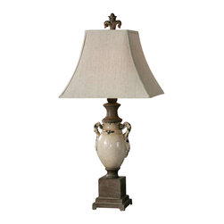 Uttermost Francavilla Ivory Table Lamp - Heavily distressed, antiqued, crackled ivory ceramic with rust bronze details. Heavily distressed, antiqued, crackled ivory ceramic with rust bronze details. The square top, rectangle bottom, bell shade is a khaki linen fabric with natural slubbing.