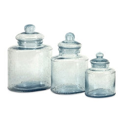 """IMAX - Cyprus Glass Canister - Set of 3 - Need cute containers to decorate your kitchen'e Cyprus glass canisters are great for adding a touch of style to any room as well as being food safe.  Item Dimensions: (6.75-10.25-11.25""""h x 4.5-5.5-6.5""""w x 5.25-6.5-8"""")"""