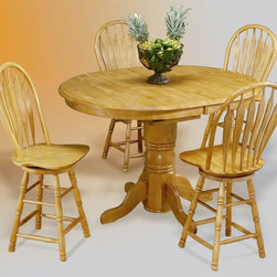 Sunset Trading - 5-Pc Bar Set - Includes one pedestal table and four barstool. Cafe pedestal base with adjustable feet. Steel reinforced turned legs, curved back support and scooped swivel seat. Solid handcrafted hardwood oval extension cafe table. Sturdy quality craftsmanship. Warranty: One year. Made from eco-friendly Malaysian oak. Light oak finish. Made in Malaysia. Assembly required. Table base: 66 in. W x 42 in. D x 36 in. H (28.38 lbs.). Table top min: 66 in. W x 42 in. D x 30 in. H (88.27 lbs.). Table top max: 66 in. W x 42 in. D x 30 in. H (88.27 lbs.). Barstool: 19.5 in. W x 19 in. D x 44 in. H (24.25 lbs.)This beautifully designed furniture supplied by Sunset Trading will assure you many years of use and enjoyment. Welcome guests into your home with a touch of country comfort with this classic American piece from the Sunset Trading - Sunset Selections Collection. Warm and inviting this versatile pedestal cafe table will easily complement your dining area, kitchen, family room or media/game room. Perfect for everyday casual dining or entertaining guests at your cafe table or kitchen snack bar.