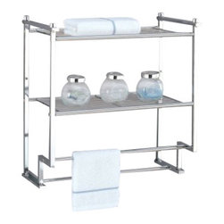 "Organize It All Inc. - Metro 2 Tier Wall Mount Rack With Towel Bars - This attractive chrome finished towel and sundries storage shelf can provide you with just that extra organization space you need.  The profile is great when space isnt plentiful and makes every inch count with the addition of a useful double shelf.  Maximize your bathrooms nooks and crannies even the ones on the wall and store extra towels and toiletries where theyre easy to reach and use. Dimensions: 17.625""L x 9.625""W x 18.25""H"