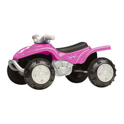 American Plastic Toys - American Plastic Toys ATV Battery Powered Riding Toy Multicolor - 30820 - Shop for Tricycles and Riding Toys from Hayneedle.com! Nothing says Girl Power like an ATV with oversized wheels and pink details. When your little lady is riding the American Plastic Toys Battery Powered ATV with Sounds Riding Toy she'll be queen of the block with full reign over the most rugged terrain. Two C batteries power this cute coupe (not included). A working headlight will illuminate her path empowering her to venture out at night and three sound effects make for a realistic ride. With fully functional steering and textured wheels this all-terrain vehicle will rev-up a tired playtime routine for tykes up to 42 lbs. Once assembled product weighs 8 lbs. and measures 27.875L x 21.75W x 14.75H inches. About American Plastic ToysSince 1962 American Plastic Toys has proudly manufactured safe toys in the United States. The company's product line includes more than 125 different items ranging from sand pails and sleds to wagons and play kitchens. American Plastic Toys assembles every one of the toys in its product line in the United States. Most of the components in American Plastic Toys products are molded in the company's own plants or purchased from U.S. companies. Toys with imported components (mostly sound components and fasteners - no painted components) represent only 25 percent of the entire product line. Every American Plastic Toys product is tested by at least one independent U.S. safety-testing lab to ensure that it complies with applicable safety standards.