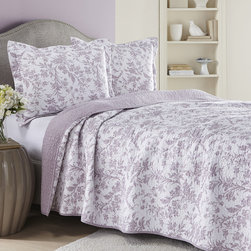 Laura Ashley - Laura Ashley Amberley Heather Reversible 3-piece Cotton Quilt Set - Bring delicate vintage appeal to your bedroom or guest room decor with this charming Amberley Heather reversible quilt and sham set. Crafted with soft cotton,this machine washable quilt is graced with a lovely lavender floral motif.