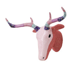 Rice DK - Wall Hanging Paper Mache Deer Head, Pink/Red - Add one of the cutest animal to any nursery or playroom! This colorful head is made of paper mache patchwork in beautiful colors and prints. Ready to hang.
