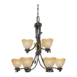 Designers Fountain - Designers Fountain 95689-OB 9-Light Chandelier - Old Bronze Finish, Sculpted Ochere Luster Glass/Shade Rustic charm with soft contemporary lines allows you to feel a sense of the outdoors.