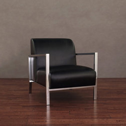 None - Modena Modern Black Leather Accent Chair - This leather accent chair is a comfortable and stylish addition to your home or office. The soft leather upholstery rests on a solid steel frame that gives the chair a modern look. It is coated with polyurethane to prevent damage to the leather.
