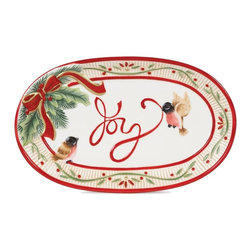 Fitz and Floyd - Fitz and Floyd Santa's Forest Friends Sentiment Tray - 29-220 - Shop for Trays from Hayneedle.com! About Fitz and FloydFitz and Floyd is recognized worldwide as a leader amongst the style- and quality-conscious. For 50 years their unique designs have made them the leader in the purveyor of hand-painted ceramic dinnerware tableware accessories giftware and collectibles. All Fitz and Floyd pieces are easy to spot. Each piece is distinctively hand-crafted by artisans from the drawing board to the sculpting wheel and kiln.The company's Dallas-based studios are renowned for producing over 500 unique designs per year. Creations range from presidential dinnerware for the White House or a tea service for Her Majesty Queen Elizabeth II to the perfect centerpiece for your table and each design is lovingly crafted in the highest quality. Meticulous craftsmanship and exquisite detail make every Fitz and Floyd piece a treasured heirloom-quality gift.