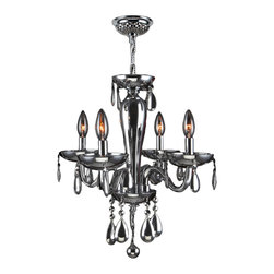 "Worldwide Lighting - Gatsby 4 Light Chrome Finish and Chrome Blown Glass Chandelier 16"" x 18"" Mini - This stunning 4-light Chandelier only uses the best quality material and workmanship ensuring a beautiful heirloom quality piece. Featuring a radiant chrome finish and blown glass in glossy chrome finish, this elegant chandelier is a work of art in its quality and beauty. Worldwide Lighting Corporation is a privately owned manufacturer of high quality crystal chandeliers, pendants, surface mounts, sconces and custom decorative lighting products for the residential, hospitality and commercial building markets. Our high quality crystals meet all standards of perfection, possessing lead oxide of 30% that is above industry standards and can be seen in prestigious homes, hotels, restaurants, casinos, and churches across the country. Our mission is to enhance your lighting needs with exceptional quality fixtures at a reasonable price."